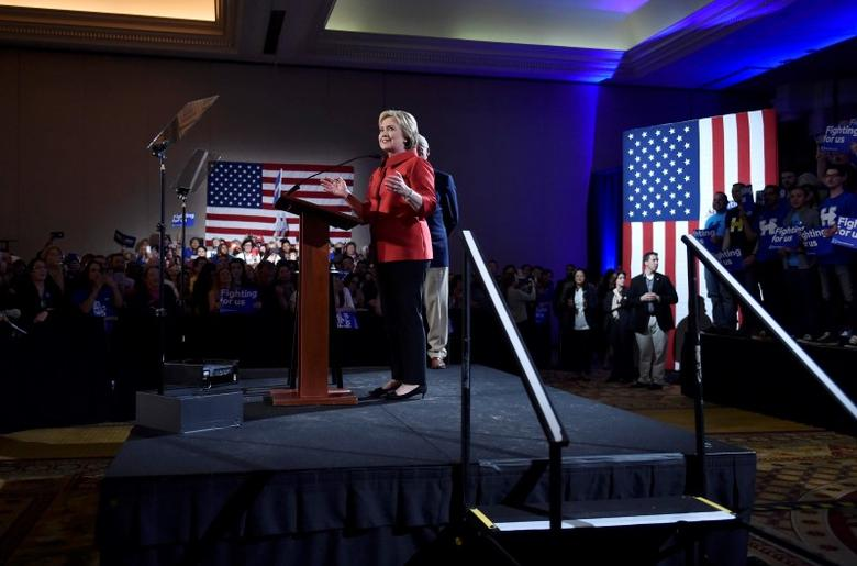 Democratic U.S. presidential candidate Hillary Clinton speaks to supporters after being projected to be the winner in the Democratic caucuses  in Las Vegas, Nevada February 20, 2016. REUTERS/David Becker
