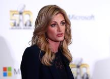 Feb 2, 2016; San Francisco, CA, USA; Erin Andrews moderates the Microsoft future of football press conference at Moscone Center in advance of Super Bowl 50 between the Carolina Panthers and the Denver Broncos. Mandatory Credit: Jerry Lai-USA TODAY Sports
