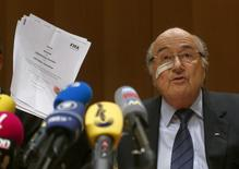 FIFA's suspended president Sepp Blatter holds a news conference in Zurich, Switzerland, December 21, 2015. REUTERS/Arnd Wiegmann
