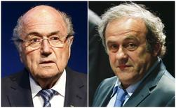 Combination file photograph of FIFA President Sepp Blatter addressing a news conference at the FIFA headquarters in Zurich, Switzerland June 2, 2015 and UEFA President Michel Platini (R) attending the 65th FIFA Congress in Zurich, Switzerland, May 29, 2015. REUTERS/Ruben Sprich/Files