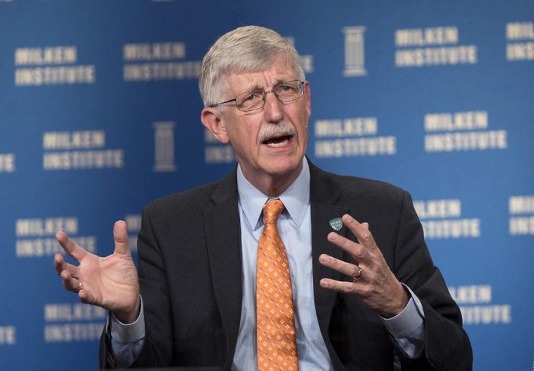 Francis Collins, Director of National Institutes of Health, takes part in a panel discussion titled ''Accelerating Medical Research'' at the Milken Institute Global Conference in Beverly Hills, California April 27, 2015.  REUTERS/Mario Anzuoni