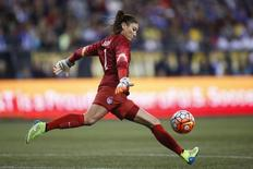 Oct 21, 2015; Seattle, WA, USA; United States goalkeeper Hope Solo (1) kicks the ball out during a game against Brazil during the first half at Century Link Field. Mandatory Credit: Jennifer Buchanan-USA TODAY Sports