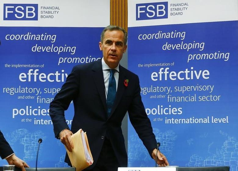 Bank of England Governor and Financial Stability Board (FSB) Chairman Mark Carney arrives for a news conference at the Bank for International Settlements (BIS) in Basel November 10, 2014.   REUTERS/Arnd Wiegmann