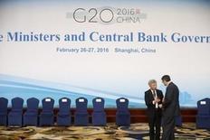 Los responsables de las principales economías del mundo dijeron el sábado que el mundo necesita mirar más allá de una política monetaria flexible para conseguir un crecimiento equilibrado. En la imagen, una vista general del carte que preside la reunión de los ministros de Finanzas del G20 y los  gobernadores de los bancos centrales en Shanghai, China, el 27 de febrero de 2016. REUTERS/Aly Song