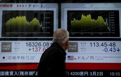 Пешеход у брокерской конторы в Токио. 29 февраля 2016 года. Японские акции упали в понедельник на фоне ослабления доллара к иене и ухудшения настроений инвесторов из-за снижения китайских акций. REUTERS/Yuya Shino