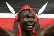 David Lekuta Rudisha of Kenya reacts after winning the men's 800m  event during the 15th IAAF World Championships at the National Stadium in Beijing, China in this August 25, 2015 file photo.   REUTERS/Lucy Nicholson