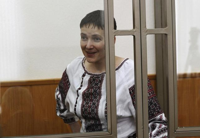 Former Ukrainian army pilot Nadezhda Savchenko reacts inside a glass-walled cage as she attends a court hearing in the southern border town of Donetsk in Rostov region, Russia, March 2, 2016. REUTERS/Sergey Pivovarov