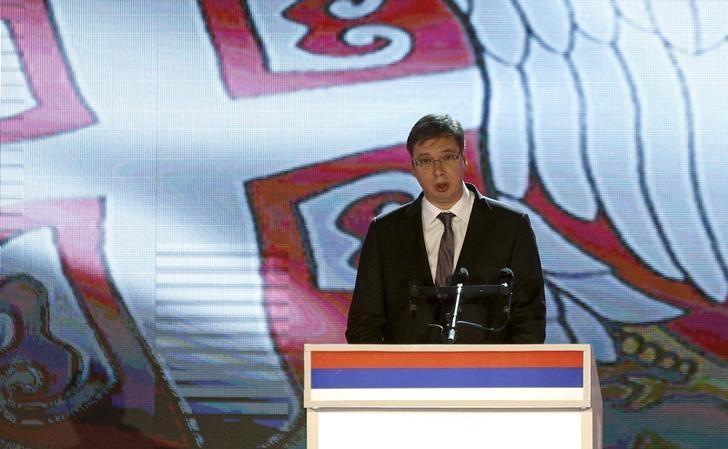 Serbian Prime Minister Aleksandar Vucic speaks during the official celebration ceremony of Republika Srpska Statehood Day in Banja Luka, Bosnia and Herzegovina, January 9, 2015. REUTERS/Dado Ruvic