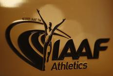 A view shows the logo at the The International Association of Athletics Federations (IAAF) headquarters in Monaco, January 14, 2016.  REUTERS/Eric Gaillard/Files
