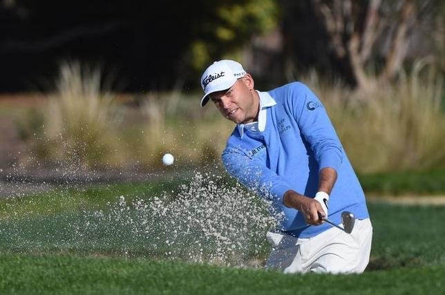 Bill Haas hits his bunker shot on the second hole during the final round of the AT&T Pebble Beach National Pro-Am at Pebble Beach Golf Links. Mandatory Credit: Kyle Terada-USA TODAY Sports