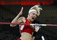 File photo of Sandi Morris competing in the women's pole vault final during the 15th IAAF World Championships at the National Stadium in Beijing, China, August 26, 2015. REUTERS/Phil Noble
