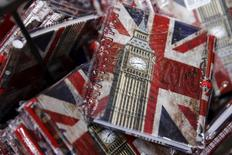 Union flags and the Big Ben clocktower cover notebooks are seen on sale in London, Britain, in this December 17, 2015 file photo.   REUTERS/Luke MacGregor/Files