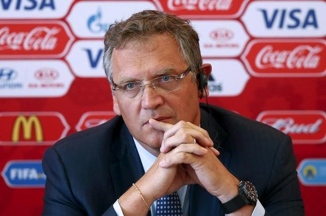 File photo of former FIFA secretary general Jerome Valcke attending a news conference during his visit to Samara, one of the 2018 World Cup host cities, Russia, June 10, 2015. REUTERS/Maxim Zmeyev