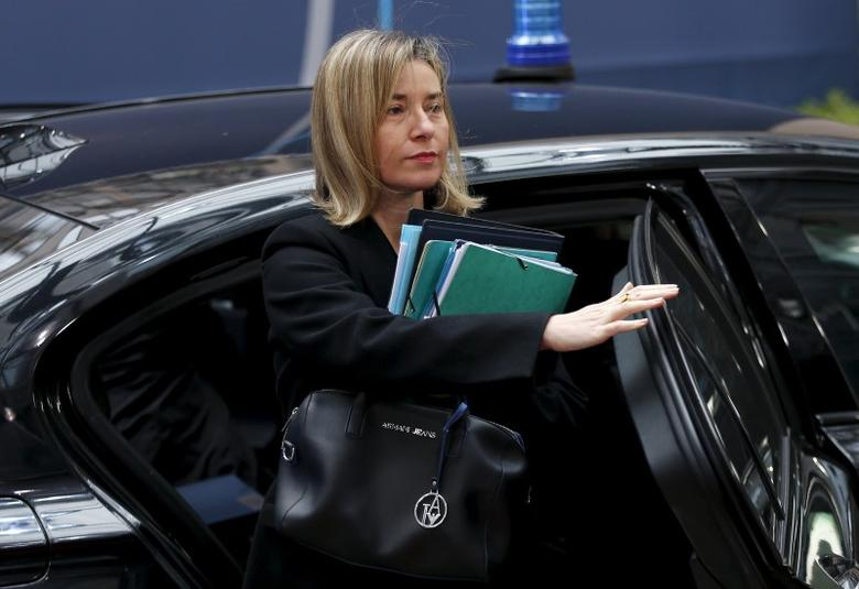 European Union foreign policy chief Federica Mogherini arrives at a European Union leaders summit on migration in Brussels, Belgium, March 18, 2016. REUTERS/Francois Lenoir