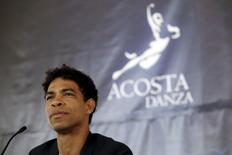 Cuban dancer Carlos Acosta, the former lead of London's Royal Ballet, addresses the media at the newly refurbished Alicia Alonso Great Theatre of Havana where his new company Acosta Danza will premiere in April, in Havana, March 17, 2016. REUTERS/Stringer