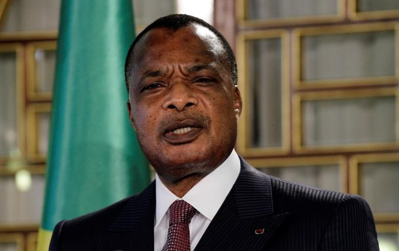Congo's President Denis Sassou Nguesso speaks during a news conference after his meeting with Tunisia's President Beji Caid Essebsi at Carthage Palace in Tunis January 22, 2015. Sassou Nguesso is in Tunisia on a two-day visit. REUTERS/Anis Mili