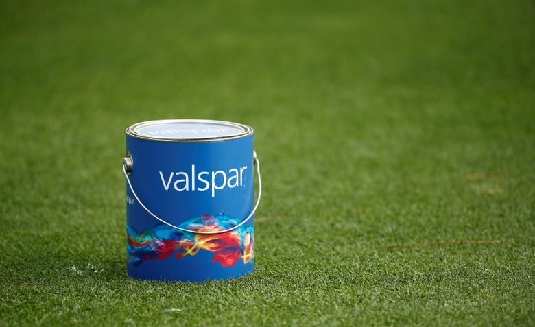 Mar 13, 2016; Palm Harbor, FL, USA; A Valspar paint can acts as the tee marker on the 1st hole during the final round of the Valspar Championship at Innisbrook Resort - Copperhead Course. Mandatory Credit: Rob Schumacher-USA TODAY Sports