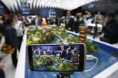 ZTE's mobile Axon is displayed at their stand at the Mobile World Congress in Barcelona, Spain February 24, 2016. REUTERS/Albert Gea