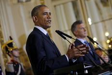 Barack Obama concede entrevista ao lado de Macri em Buenos Aires.  23/3/2016.  REUTERS/Carlos Barria