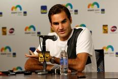 Mar 24, 2016; Key Biscayne, FL, USA; Roger Federer speaks at a press conference on day three of the Miami Open at Crandon Park Tennis Center. Mandatory Credit: Geoff Burke-USA TODAY Sports