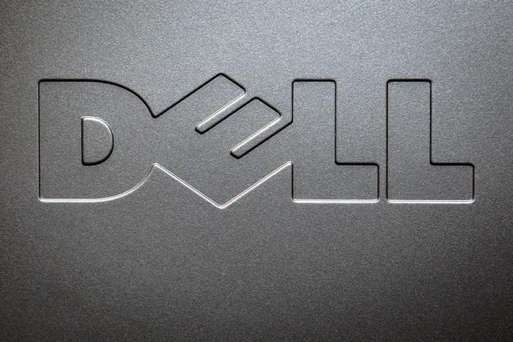 A Dell logo is pictured on the side of a computer in this photo illustration in the Manhattan borough of New York October 12, 2015.  REUTERS/Carlo Allegri
