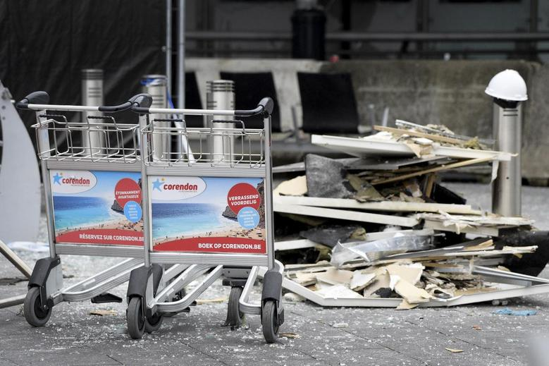 Wreckage are seen outside the terminal at Brussels International airport following bomb attacks in Brussels metro and Belgium's airport of Zaventem, Belgium, March 23, 2016. REUTERS/Yorick Jansens/Pool