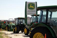 John Deere commercial vehicles are seen at a dealer in Longmont, Colorado in this file photo dated August 18, 2010. REUTERS/Rick Wilking