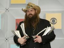 Musician Chris Stapleton poses backstage with his six awards at the 51st Academy of Country Music Awards in Las Vegas, Nevada April 3, 2016.  REUTERS/Steve Marcus
