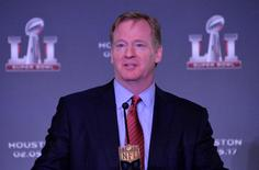 Feb 8, 2016; San Francisco, CA, USA; NFL commissioner Roger Goodell speaks during Super Bowl LI press conference at the Moscone Center. Mandatory Credit: Kirby Lee-USA TODAY Sports