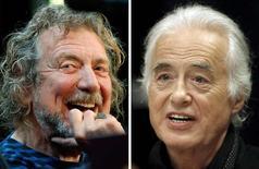 Robert Plant e Jimmy Page em foto combinada de outubro de 2012 e julho de 2015. 10/5/2016.  REUTERS/Carlo Allegri, Hans Deryk