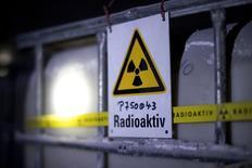 Знак радиационной опасности в центре утилизации ядерных отходов в Ремлингене, Германия 4 марта 2014 года. В брюссельской квартире Салеха Абдеслама, главного подозреваемого в причастности к прошлогодней серии нападений в Париже, были обнаружены документы о центре ядерных исследований в немецком городе Юлих, сообщил ряд немецких СМИ в четверг. REUTERS/Jochen Luebke/Pool