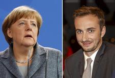 Chanceler alemã Merkel e o comediante Boehmermann. 15/4/2016.    REUTERS/Morris Mac Matzen/Fabrizio Bensch