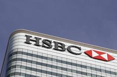 The HSBC logo is seen at their offices at Canary Wharf financial district in London, Britain, March 3, 2016.  REUTERS/Reinhard Krause