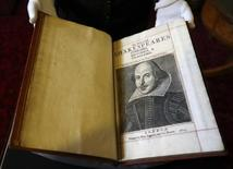 A Shakespeare First Folio discovered nearly 400 years after his death is displayed at Mount Stuart, Isle of Bute, Scotland, Britain April 7, 2016. REUTERS/Russell Cheyne