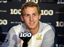 Jul 31, 2015; Burbank, CA, USA; California Golden Bears quarterback Jared Goff at Pac-12 Media Day at Warner Bros. Studios. Mandatory Credit: Kirby Lee-USA TODAY Sports -