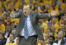 Chicago Bulls head coach Tom Thibodeau reacts in the fourth quarter against the Cleveland Cavaliers in game one of the second round of the NBA Playoffs at Quicken Loans Arena. Mandatory Credit: David Richard-USA TODAY Sports