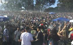 "Thousands of marijuana enthusiasts gather on ""Hippie Hill"" in San Francisco's Golden Gate Park to light up joints, pipes and bongs in celebration of the annual but informal cannabis holiday, named 4/20 in San Francisco, California April 20, 2016.  REUTERS/Curtis Skinner"