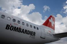 A Bombardier C-Series aircraft is displayed at the Singapore Airshow at Changi Exhibition Center February 18, 2016.  REUTERS/Edgar Su