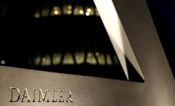 A Daimler sign name is pictured during the company's annual news conference in Stuttgart, Germany, February 4, 2016.      REUTERS/Michaela Rehle