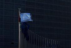 An European Union flag flutters outside the EU Commission headquarters in Brussels, Belgium, January 12, 2016. REUTERS/Francois Lenoir