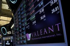 Trading information for Valeant Pharmaceuticals Inc. is displayed on the floor of the New York Stock Exchange (NYSE) April 6, 2016. REUTERS/Brendan McDermid  -