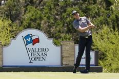 Apr 22, 2016; San Antonio, TX, USA; Brendan Steele watches his drive on the 15th hole during the second round of the 2016 Valero Texas Open at TPC San Antonio - AT&T Oaks Course. Mandatory Credit: Soobum Im-USA TODAY Sports