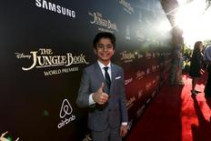 "Cast member Neel Sethi poses at the premiere of ""The Jungle Book"" at El Capitan theatre in Hollywood, California April 4, 2016. REUTERS/Mario Anzuoni"