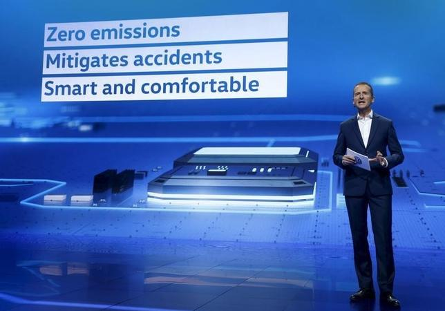 Herbert Diess, chairman of Volkswagen Passenger Cars' board, speaks during a keynote address at the 2016 CES trade show in Las Vegas, Nevada, January 5, 2016.  REUTERS/Steve Marcus