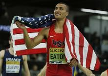 Gold medalist Ashton Eaton of the U.S. reacts after winning the men's heptathlon at the IAAF World Indoor Athletics Championships in Portland, Oregon March 19, 2016. REUTERS/Lucy Nicholson