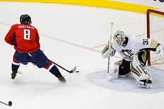 Pittsburgh Penguins goalie Matt Murray (30) makes a save on Washington Capitals left wing Alex Ovechkin (8) in the third period in game one of the second round of the 2016 Stanley Cup Playoffs at Verizon Center. Mandatory Credit: Geoff Burke-USA TODAY Sports
