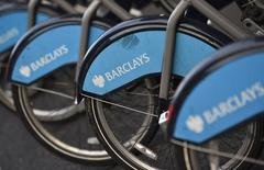 The Barclays logo is seen on public hire bicycles in central London October 30, 2014. REUTERS/Toby Melville