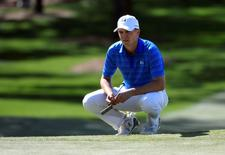 Apr 10, 2016; Augusta, GA, USA; Jordan Spieth waits on the 7th green during the final round of the 2016 The Masters golf tournament at Augusta National Golf Club. Mandatory Credit: Michael Madrid-USA TODAY Sports
