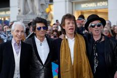 "Members of the Rolling Stones (L-R) Charlie Watts, Ronnie Wood, Mick Jagger and Keith Richards arrive for the ""Exhibitionism"" opening night gala at the Saatchi Gallery in London, Britain April 4, 2016. REUTERS/Luke MacGregor"