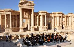 Russia's Mariinsky Theater performs at the amphitheater of the Syrian city of Palmyra, Syria in this handout picture provided by SANA on May 5, 2016. SANA/Handout via REUTERS